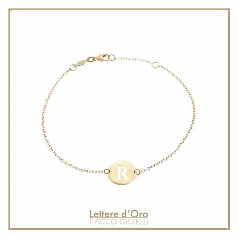 Bracciale oro 9K dischetto lettera iniziale nome