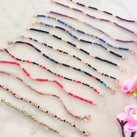 Bracciale Radice di Rubino e perline argento 925 oro rosa