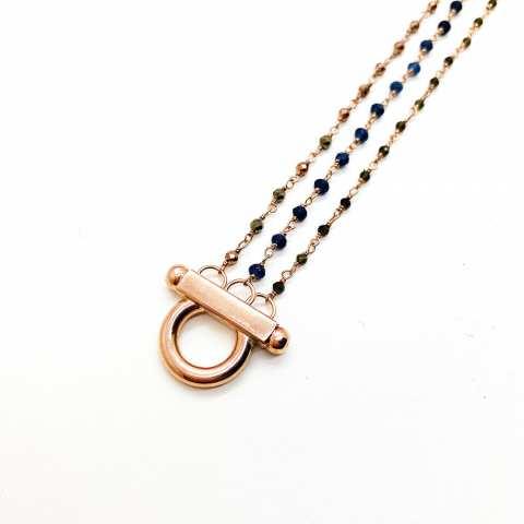Bracciale tre fili argento 925 oro rosa rosario bicolore