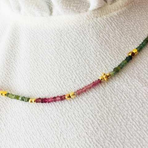 Collana argento 925 oro rosa Tormaline multicolor