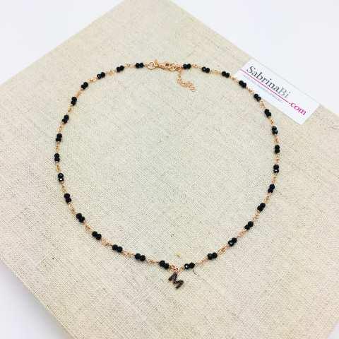 Collana argento 925 oro rosa rosario Spinelli doppi e lettera