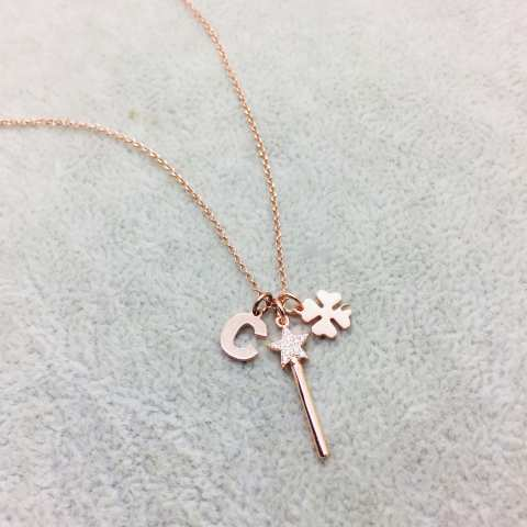 I Piccolini rose gold sterling silver letter, clover and magic wand long necklace