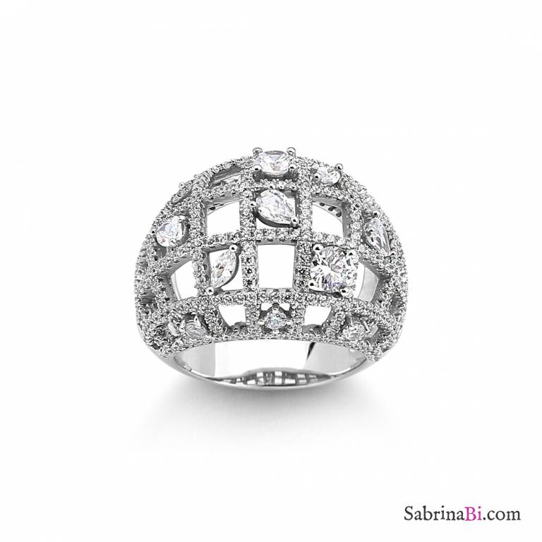 Anello argento 925 a fascia bombato scacchiera brillanti