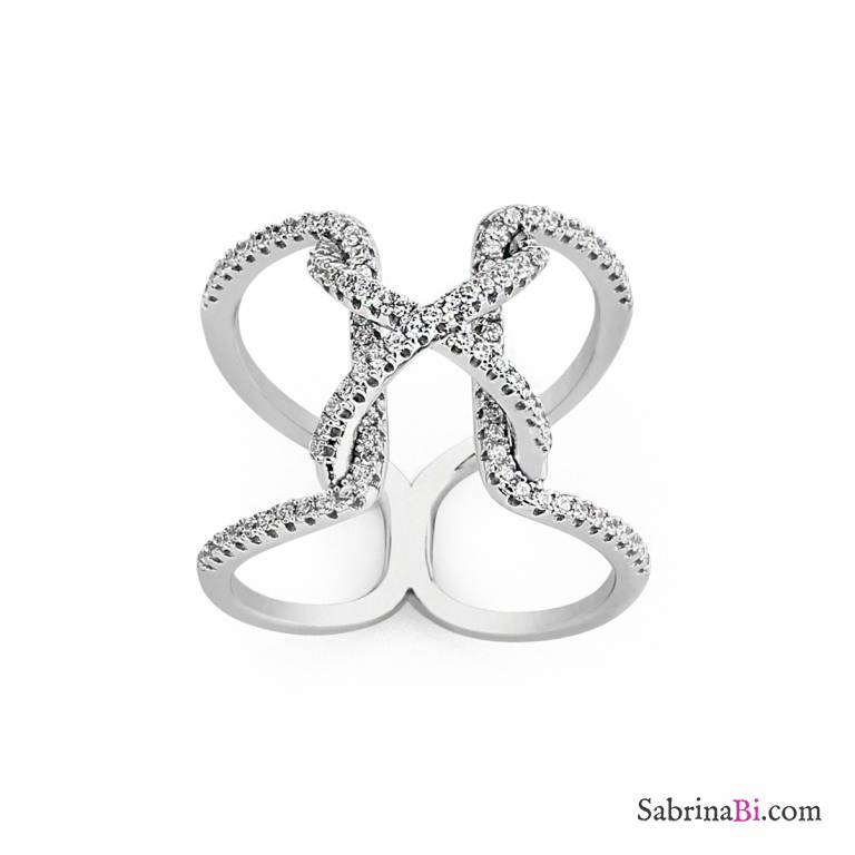 Anello argento 925 Nodo brillanti