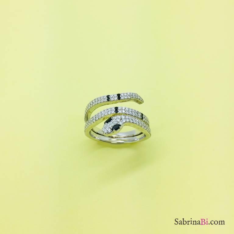 Anello argento 925 Serpente Zirconi triplo giro
