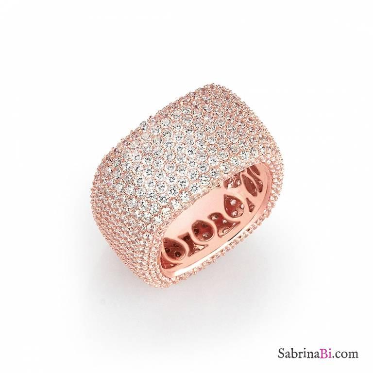 Anello fascia quadrato argento 925 oro rosa pavè brillanti