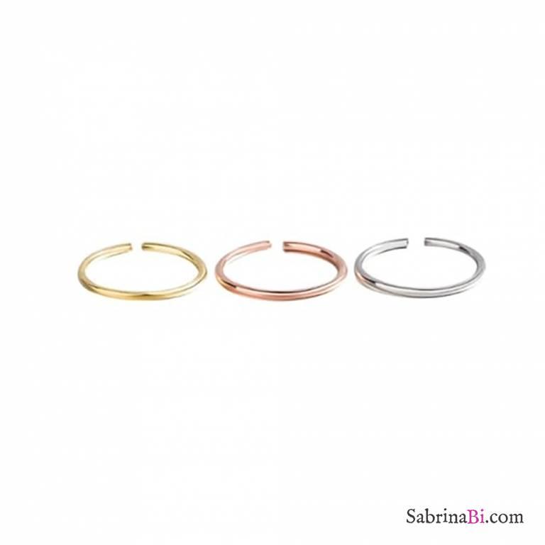 Anello fedina minimal regolabile argento 925, oro giallo o rosa