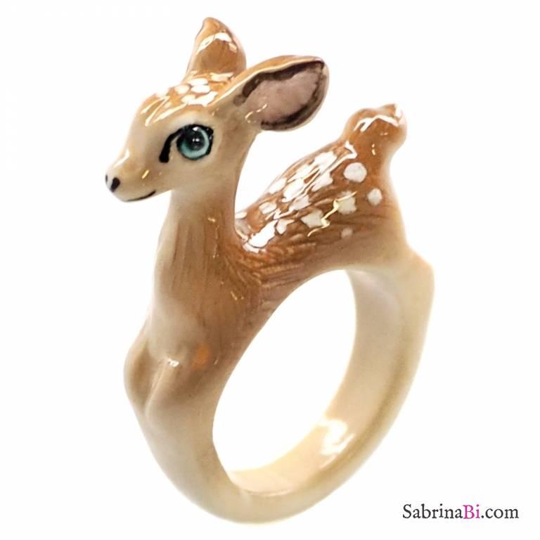 Anello in porcellana cucciolo Bambi Tg.S