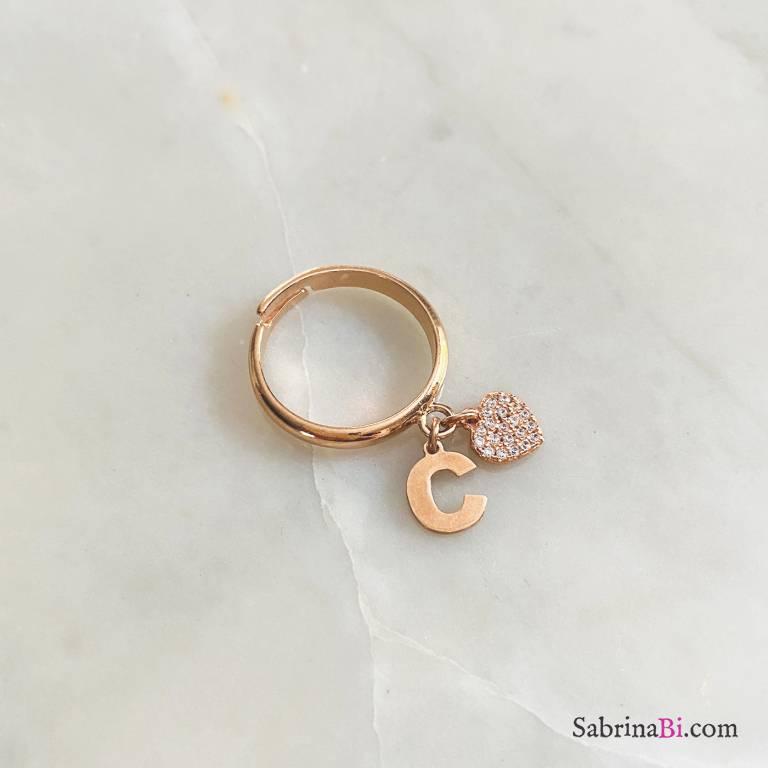 Anello regolabile argento 925 oro rosa Lettera e cuore Zirconi