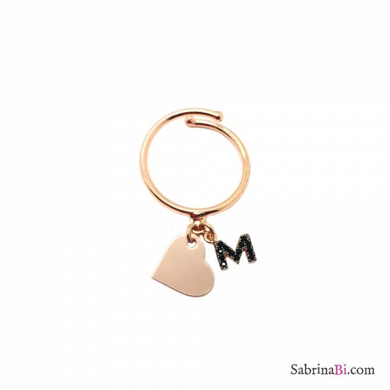 Anello regolabile argento 925 oro rosa Lettera e cuore