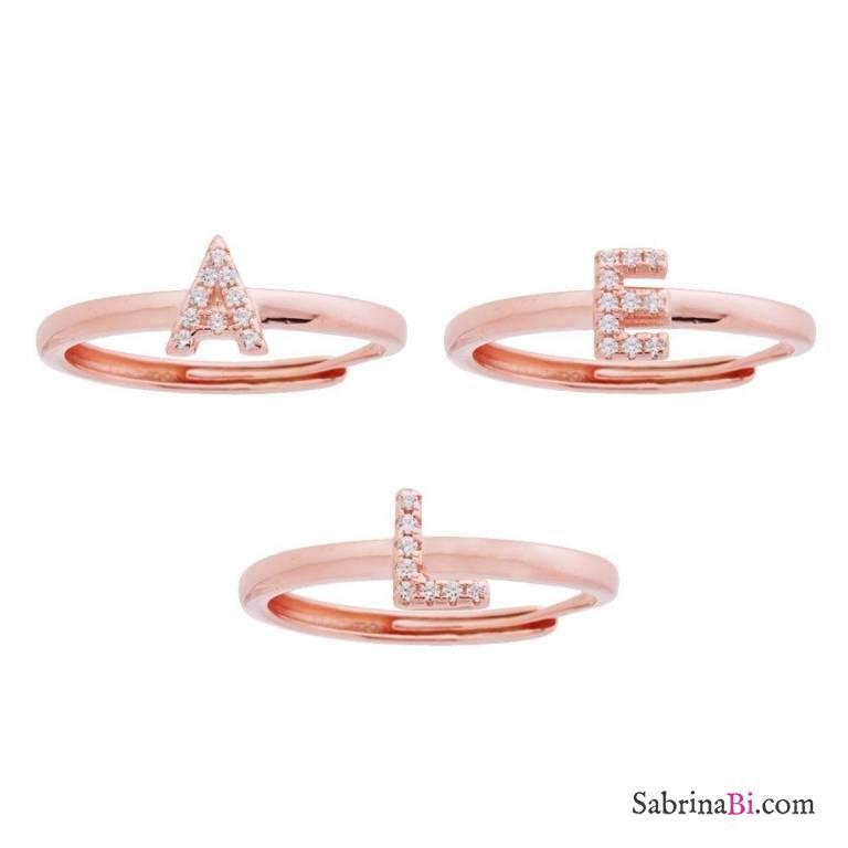 Anello regolabile argento 925 oro rosa Lettera Zirconi personalizzata