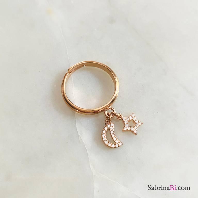 Anello regolabile argento 925 oro rosa Luna e stella Zirconi