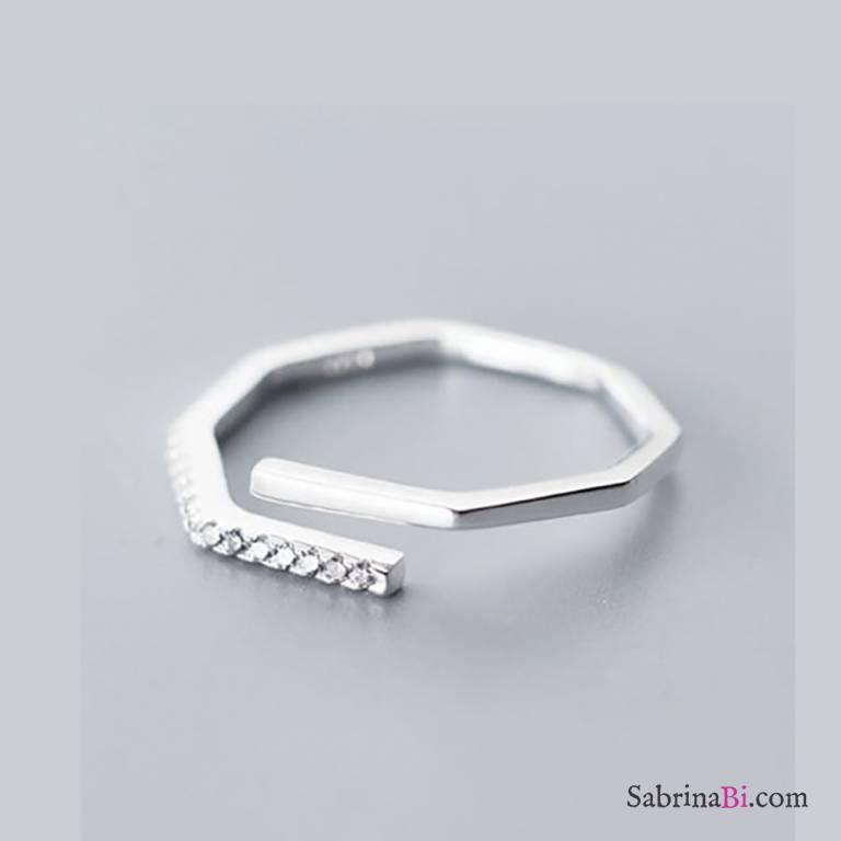 Anello regolabile argento 925 squadrato Zirconi
