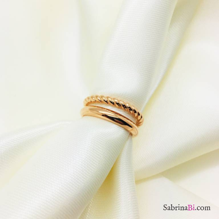 Anello regolabile doppio argento 925 oro rosa