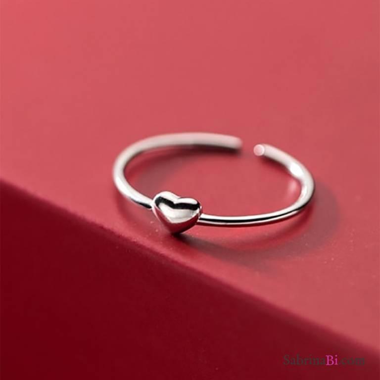 Anello regolabile filo argento 925 micro cuore