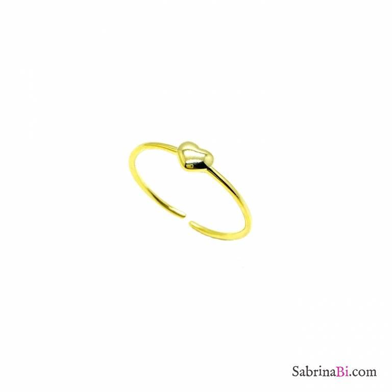 Anello regolabile filo argento 925 oro micro cuore
