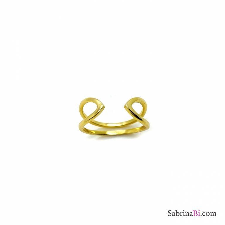 Anello regolabile open geometrico argento 925 oro