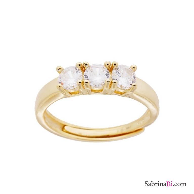 Anello regolabile Trilogy argento 925 oro giallo Zirconi bianchi mm 4