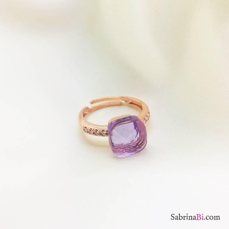 Anello regolabile Zirconato argento 925 oro rosa Nudo glicine