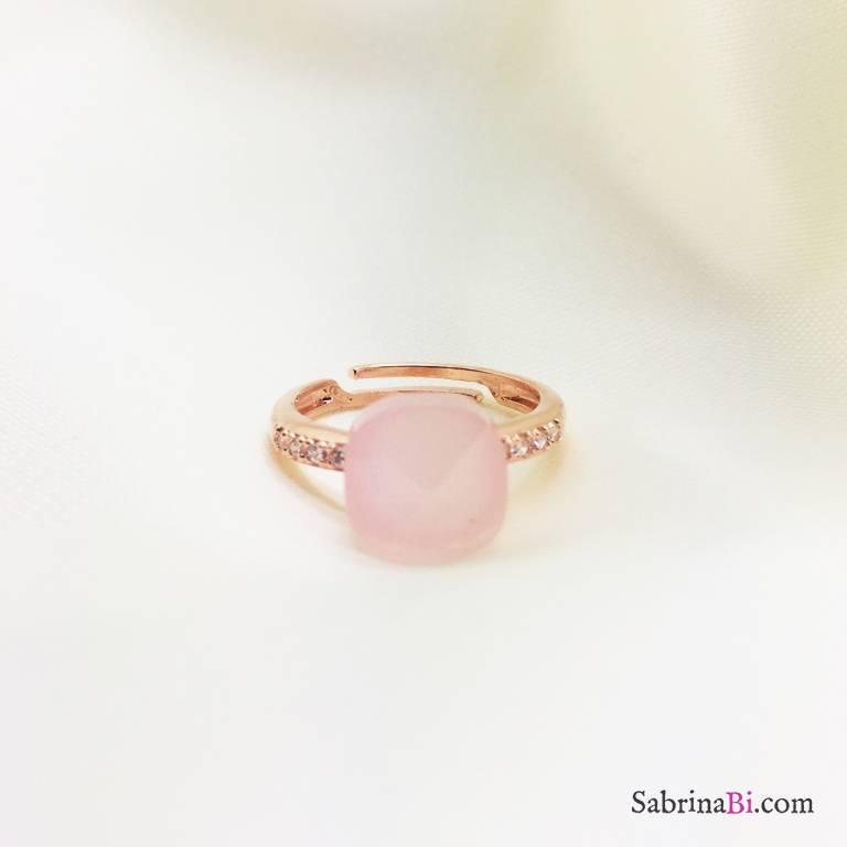 Anello regolabile Zirconato argento 925 oro rosa Nudo rosa