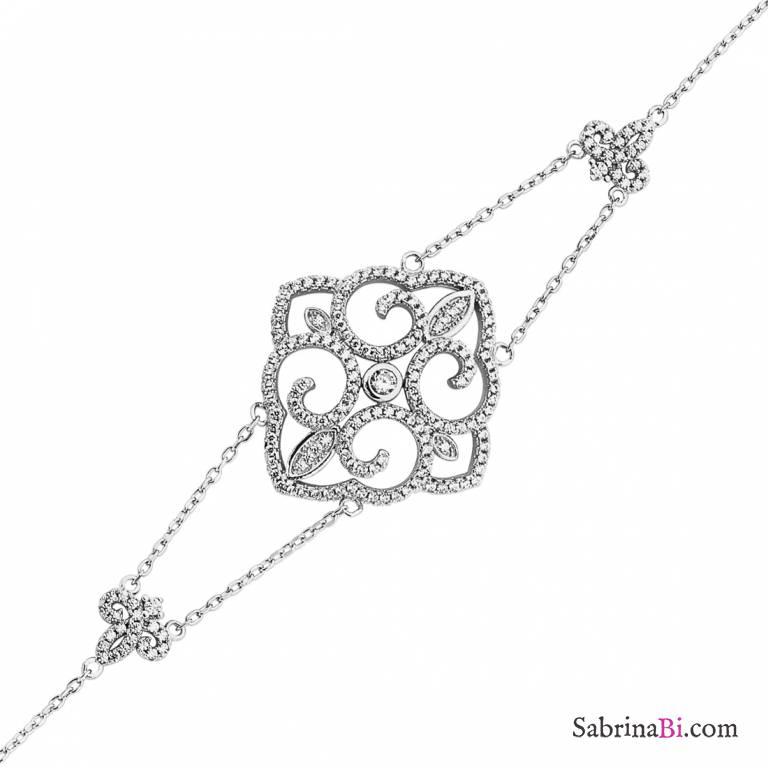 Bracciale argento 925 elemento geometrico brillanti