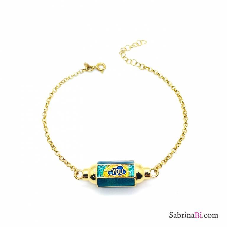 Bracciale argento 925 oro giallo Locket verde scuro