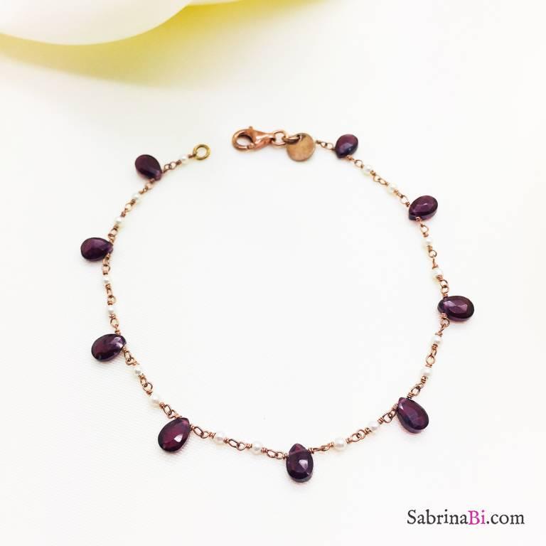 Bracciale argento 925 oro rosa Ametista e Perle