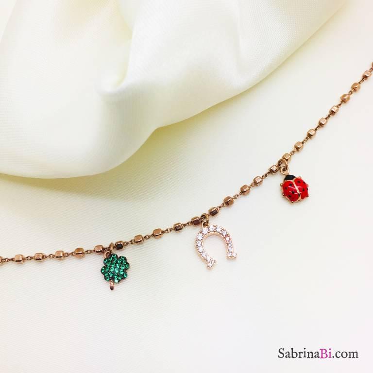 Bracciale argento 925 oro rosa ciondoli portafortuna