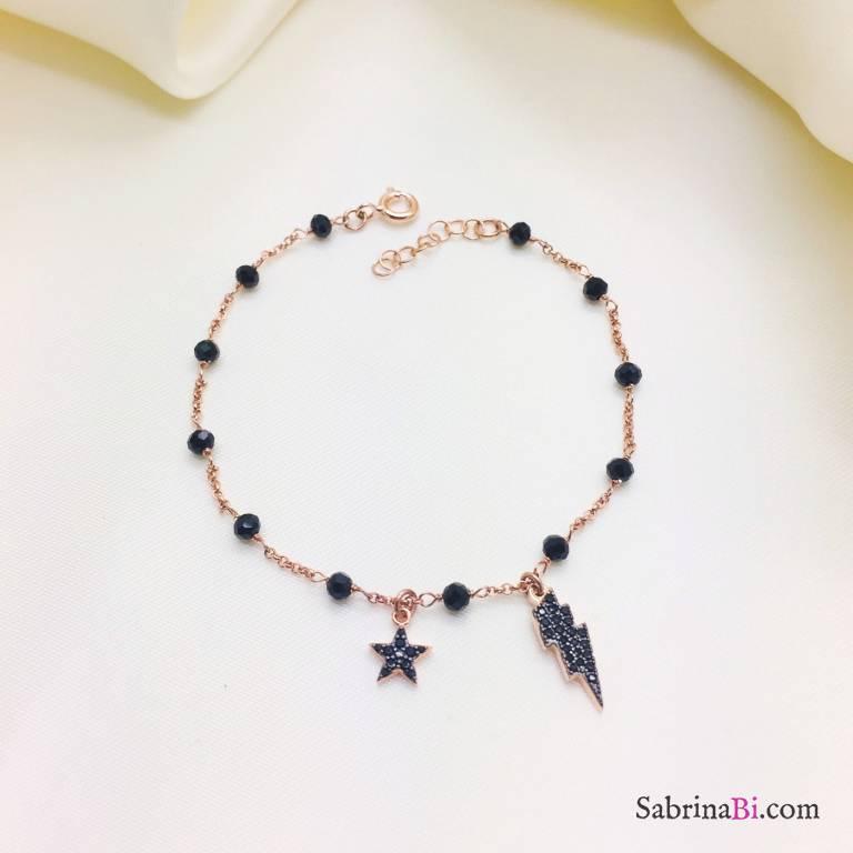 Bracciale argento 925 oro rosa con Zirconi neri Fulmine e stella