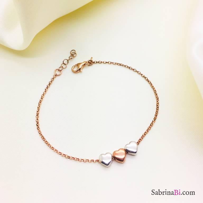 Bracciale argento 925 oro rosa cuori passanti bicolore