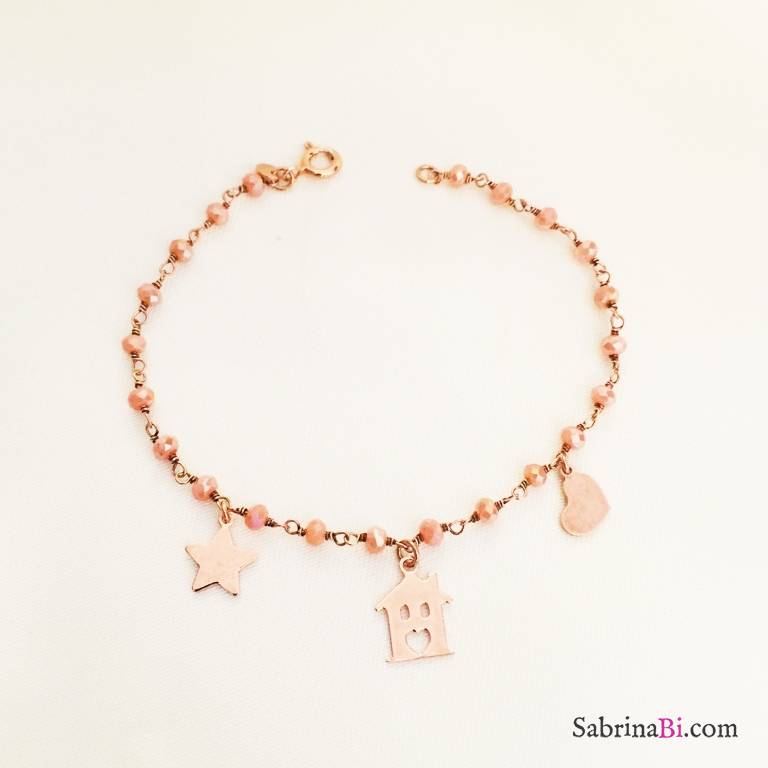 Bracciale argento 925 oro rosa Home