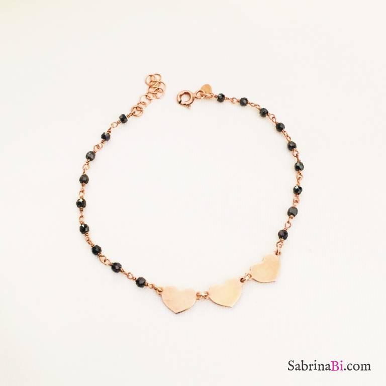 Bracciale argento 925 oro rosa Love love love