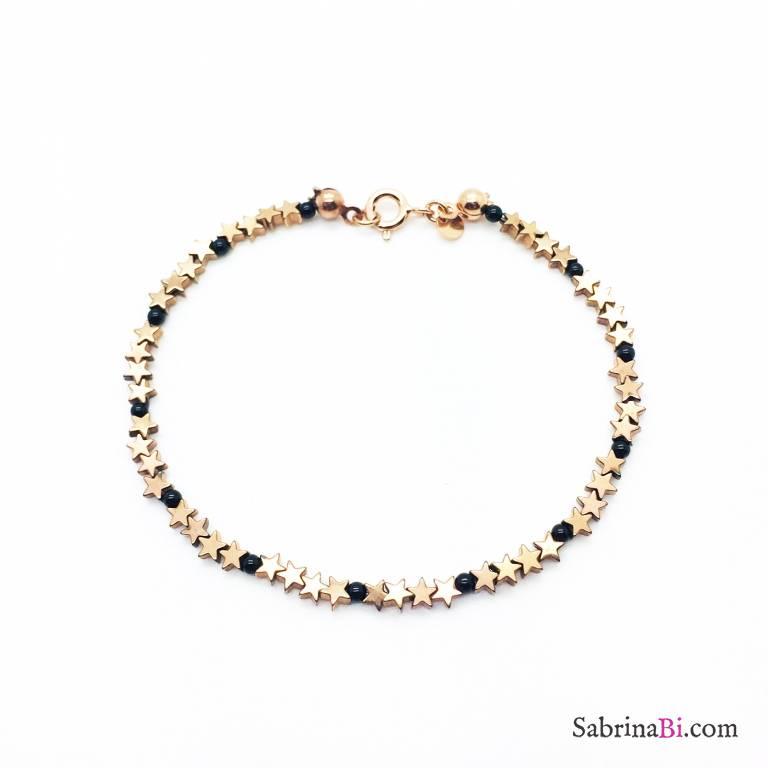 Bracciale argento 925 oro rosa micro Spinelli neri tondi e stelline Pirite