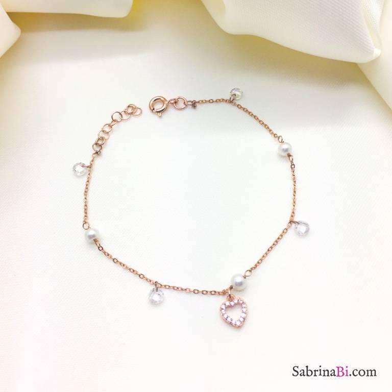 Bracciale argento 925 oro rosa Perle, Zirconi e cuore Zirconi