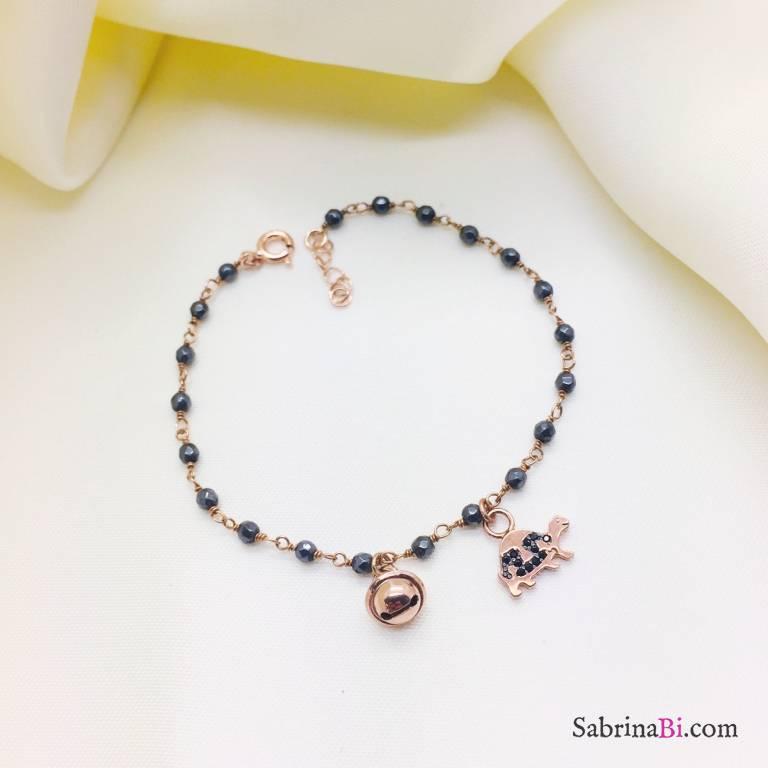 Bracciale argento 925 oro rosa rosario Ematite Campanella e Tartaruga