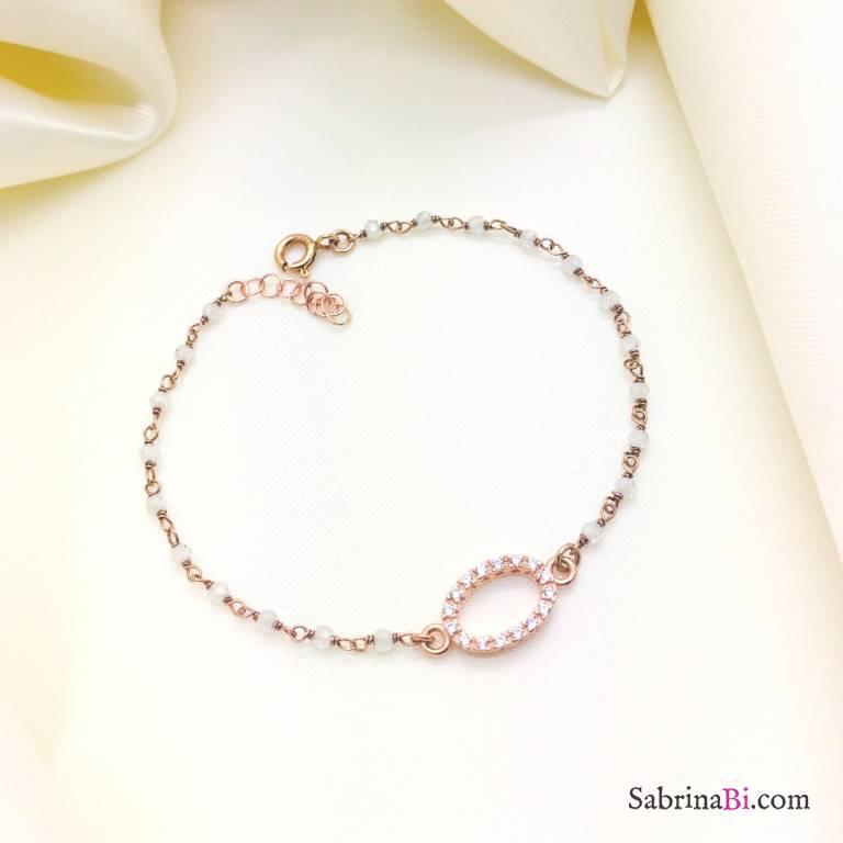 Bracciale argento 925 oro rosa rosario Pietra di Luna e Zirconi