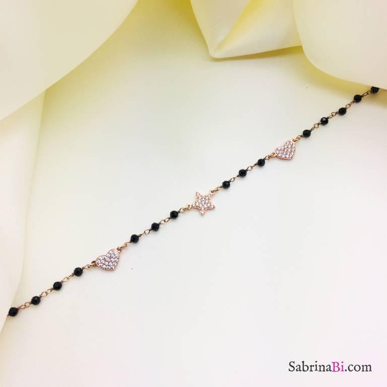 Bracciale argento 925 oro rosa rosario Spinelli neri Stella e due Cuori Zirconi