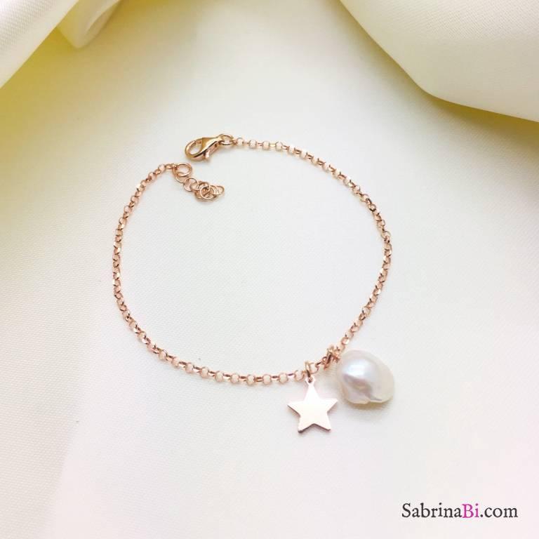Bracciale argento 925 oro rosa stella e Perla barocca
