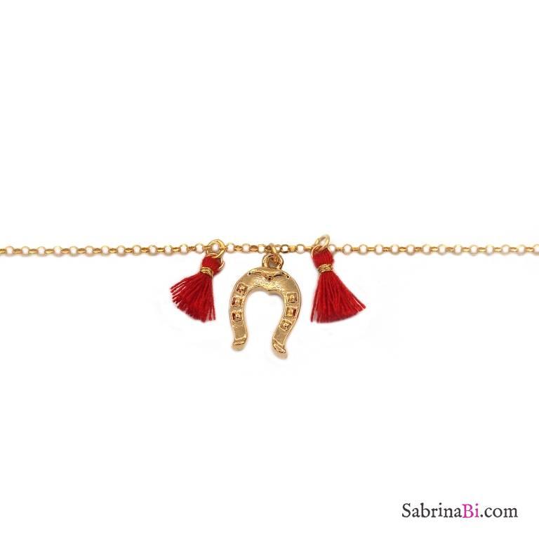Bracciale argento 925 placcato oro ferro cavallo e nappine