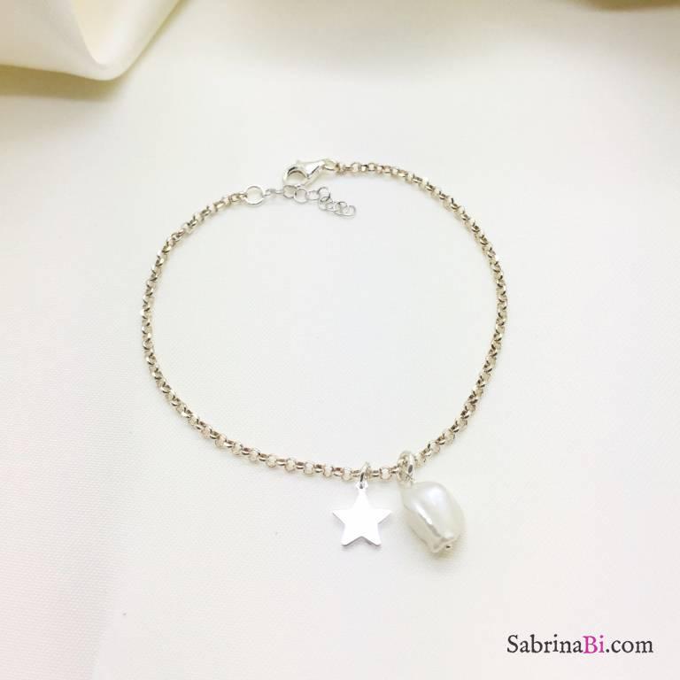 Bracciale argento 925 stella e Perla barocca
