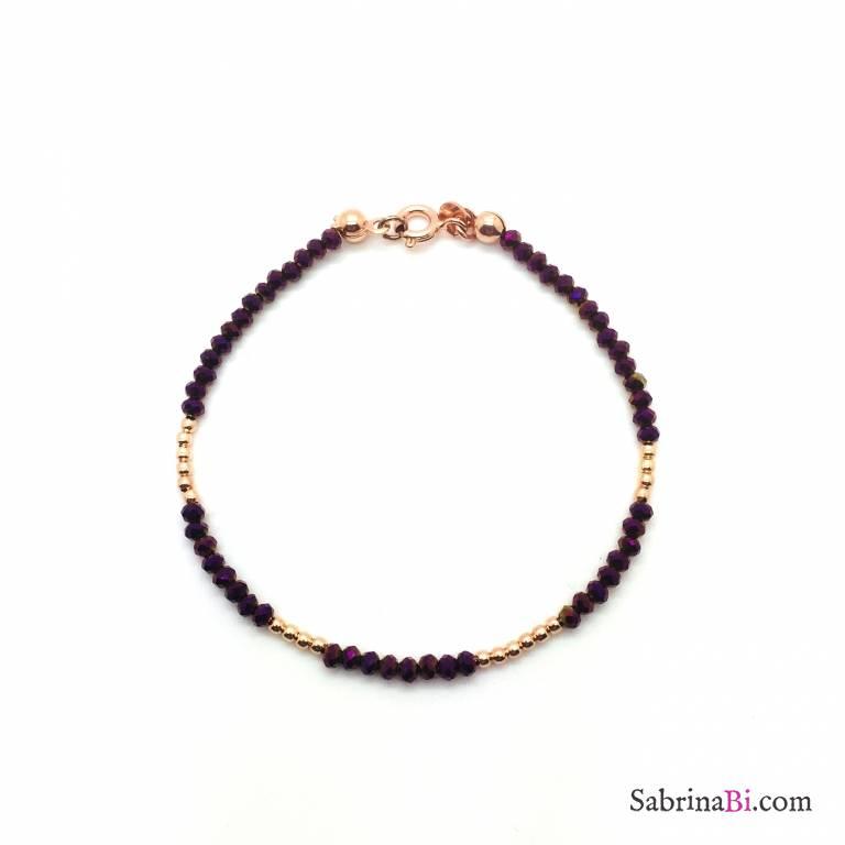 Bracciale Calcedonio bordeaux e perline argento 925 oro rosa