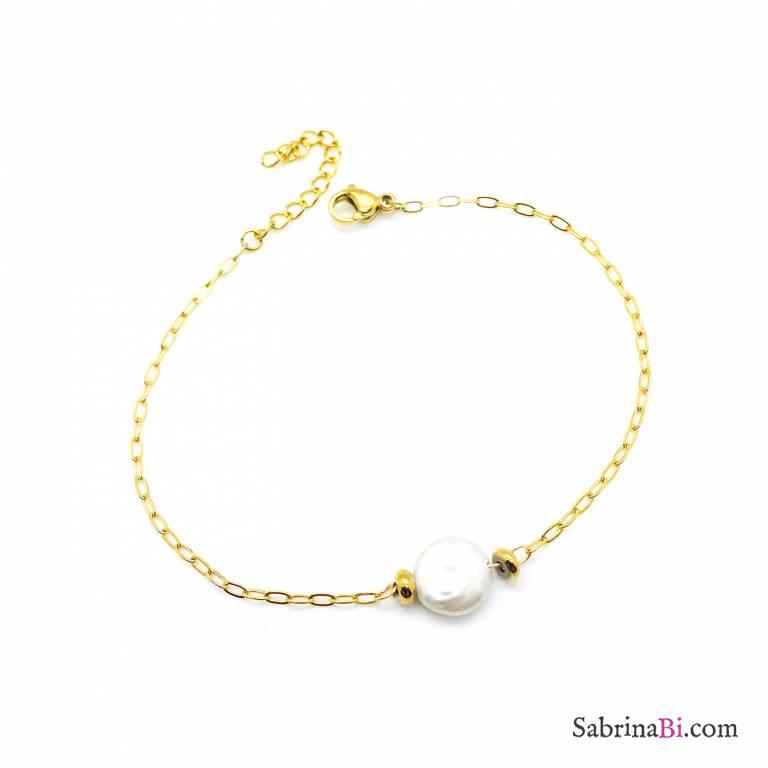 Bracciale catena oro e perla