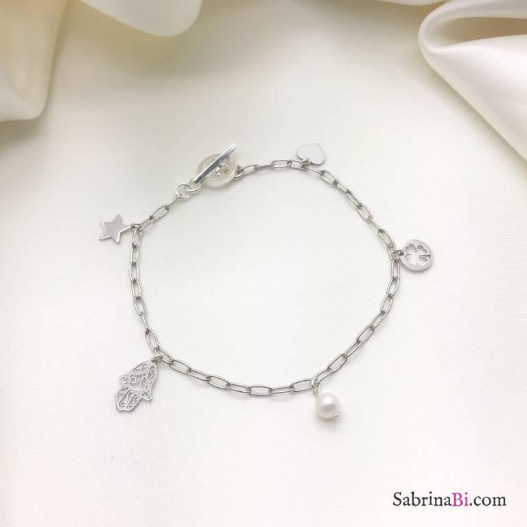 Bracciale catena rettangolare argento 925 5 charms