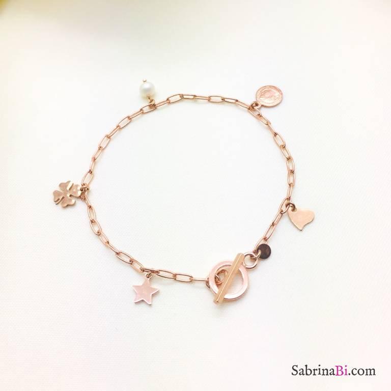 Bracciale catena rettangolare argento 925 oro rosa 5 charms
