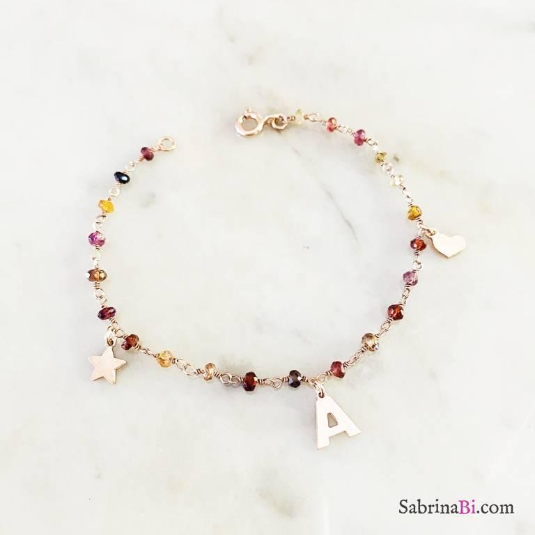 Bracciale I AM rosario argento 925 oro rosa pietre dure multicolor