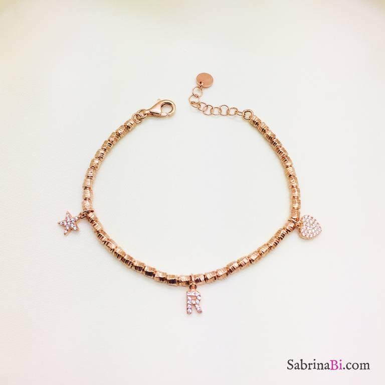 Bracciale pepite argento 925 oro rosa Lettera Cuore e Stella Zirconi