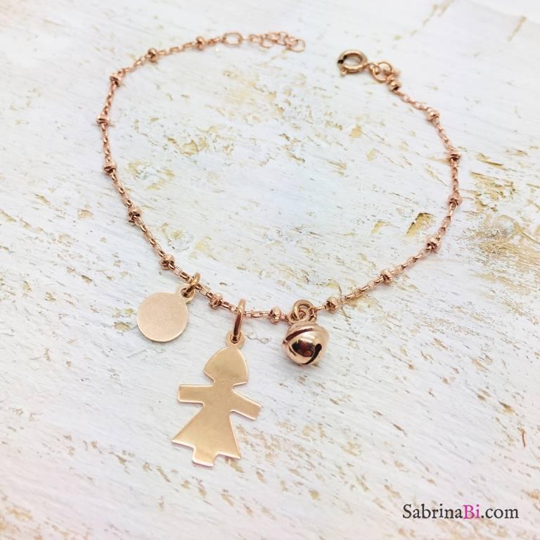 Bracciale rosario argento 925 oro rosa Bambina e campanellino