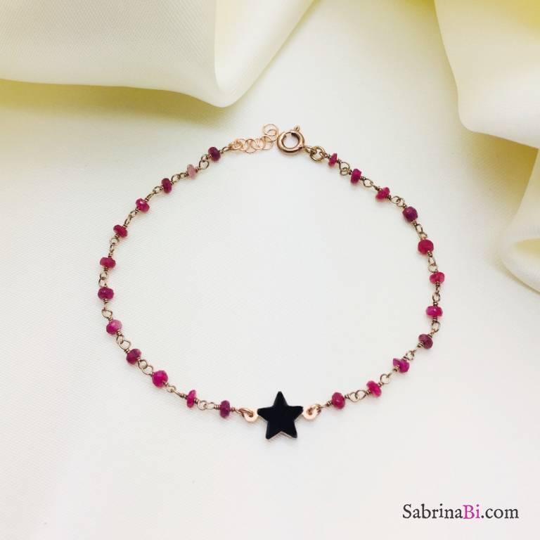 Bracciale rosario argento 925 oro rosa Granato e stella smalto nero