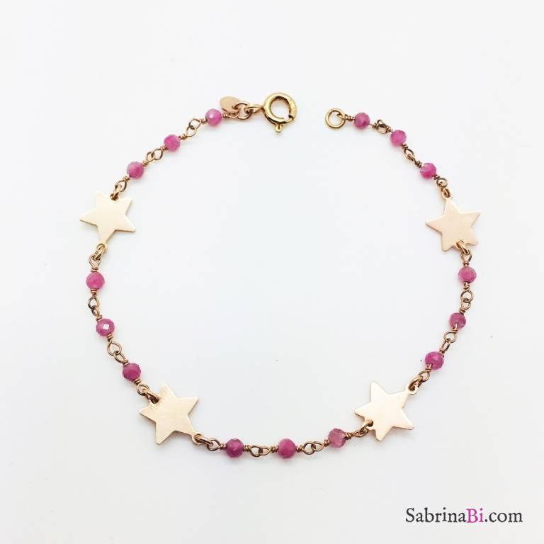 Bracciale rosario rosa argento 925 oro rosa e stelle
