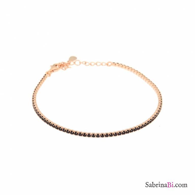 Bracciale Tennis argento 925 oro rosa micro Zirconi neri